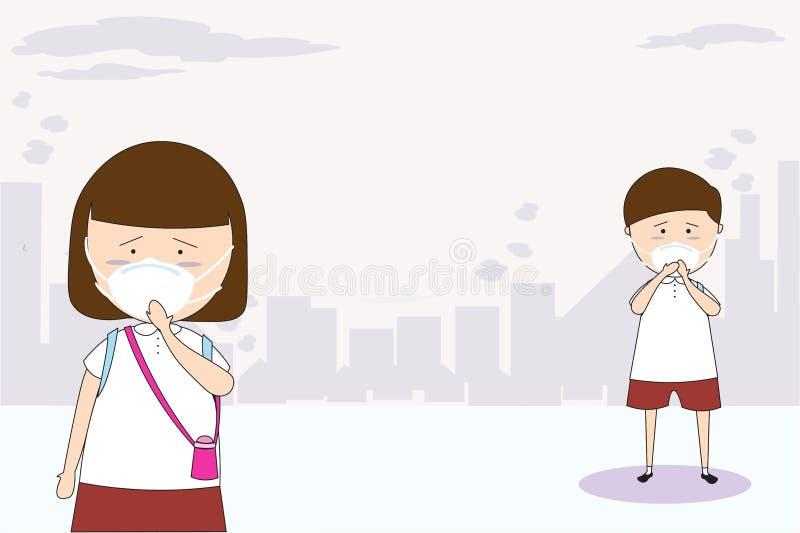 M??czy?ni i kobiety nosz? maski N95 zapobiega? zanieczyszczenie powietrza w mie?cie PM 2 5 w py?u metrze Tak jak py?, dymi i w?ch ilustracji