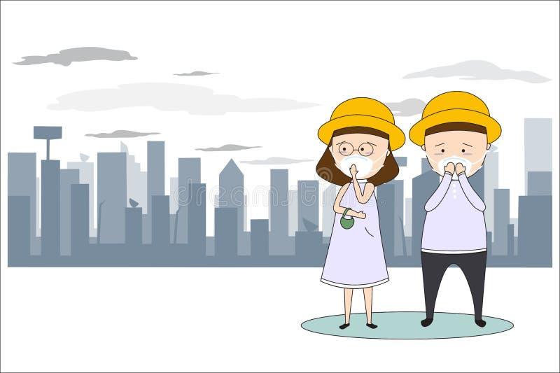 M??czy?ni i kobiety nosz? maski zapobiega? zanieczyszczenie powietrza w mie?cie Tak jak py?, dymi i w?cha poj?cia mieszkania styl ilustracji