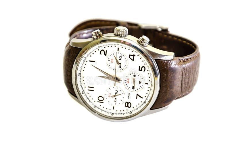 M??czy?ni, wristwatches z br?z patk?, odizolowywaj?c? na bia?ym tle Zako?czenie fotografia stock
