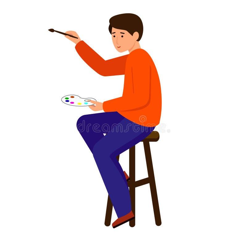 M??czyzn remisy, pisz? Artysta trzyma farb? i mu?ni?cie Charakter siedzi na stolec royalty ilustracja