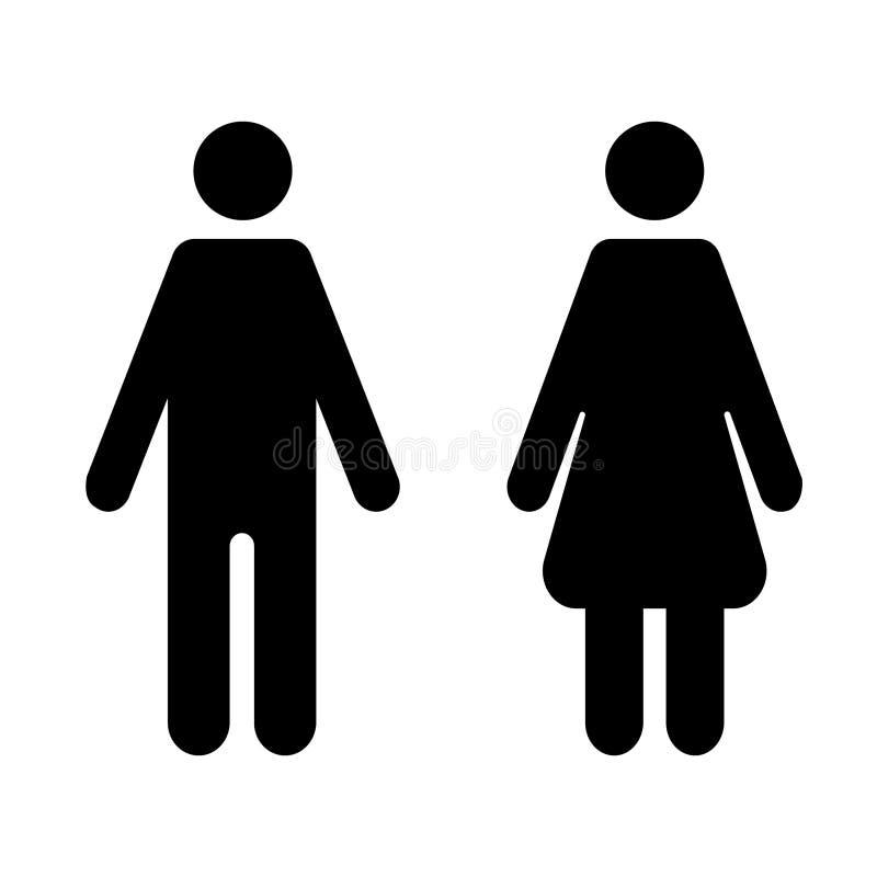 M??czyzna i kobiety ikona na odosobnionym tle Nowo?ytny p?aski piktogram Prosty płaski symbol dla strona internetowa projekta – w ilustracja wektor