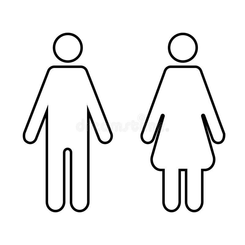 M??czyzna i kobiety ikona na odosobnionym tle Nowo?ytny p?aski piktogram Prosty płaski symbol dla strona internetowa projekta - ilustracja wektor