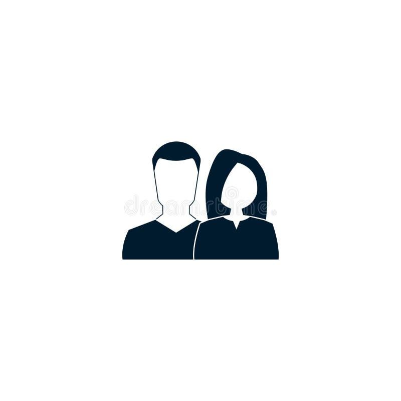 M??czyzna i kobiety ikona Wektorowy symbol na bielu ilustracji