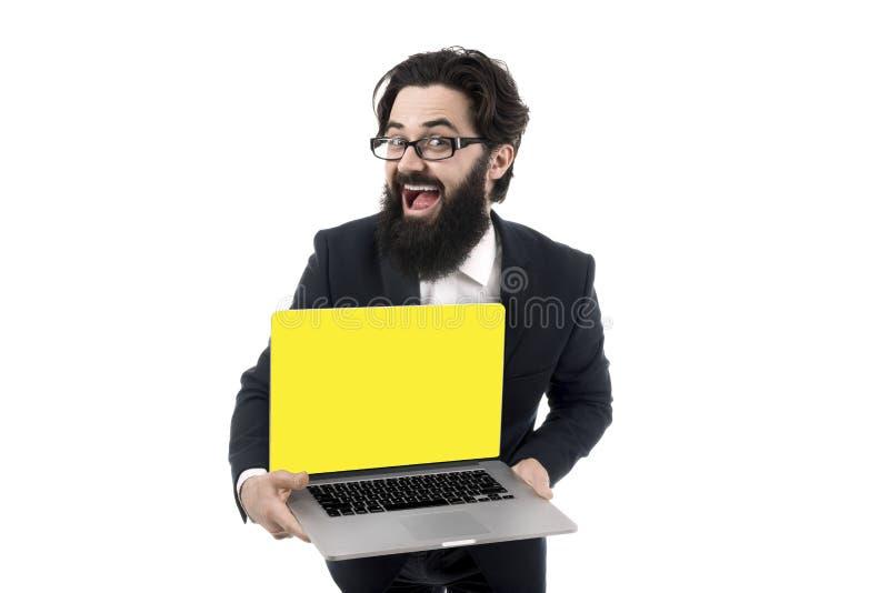 M??czyzna mienia laptop fotografia stock