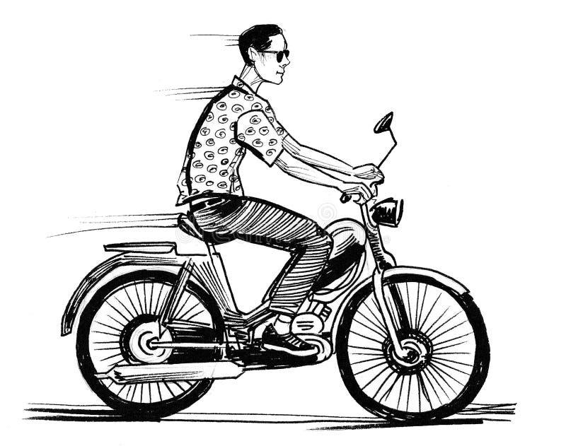 M??czyzna na moped royalty ilustracja