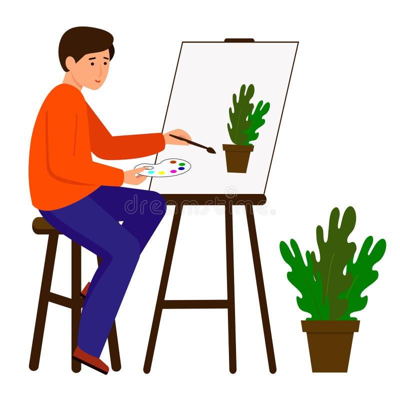 M??czyzna rysuje obrazek Artysta trzyma farb? i mu?ni?cie Charakter siedzi przy sztalug? ilustracji
