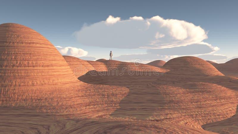 M??czyzna stojaki w ska?y pustyni ilustracja wektor