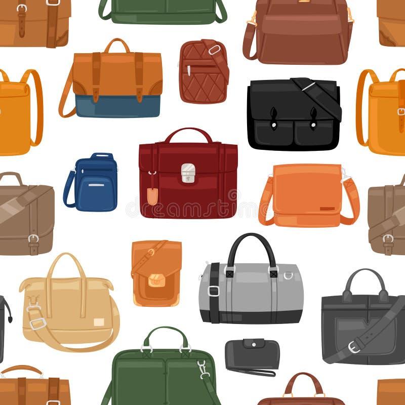 M??czyzna torby wektorowi m??czyzna fasonuj? torebki, biznes sk?ry lub teczki notecase biznesmena ilustracyjny manlike zdob?d?cy  ilustracja wektor