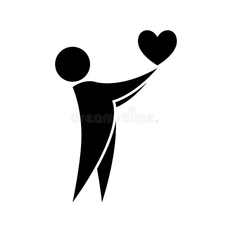 M??czyzna trzyma serce w jego r?ki ikonie Serce w m??czyzna r?kach przygotowywa ikon? r?wnie? zwr?ci? corel ilustracji wektora fotografia stock