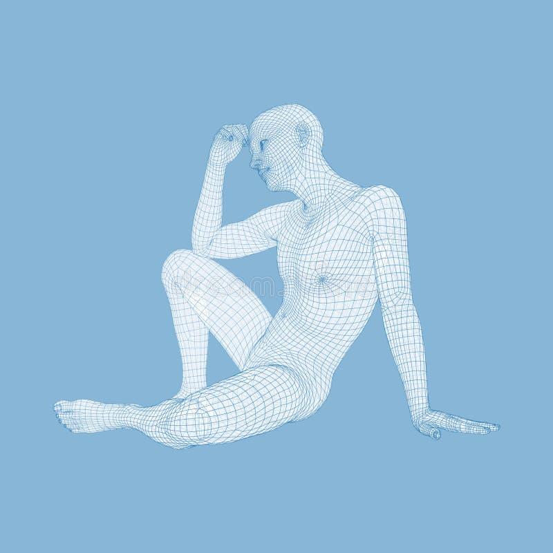 M??czyzna w my?liciel pozie 3D model m??czyzna geometryczny wz?r Cia?o Ludzkie drutu model Biznes, nauka, psychologia lub filozof ilustracji