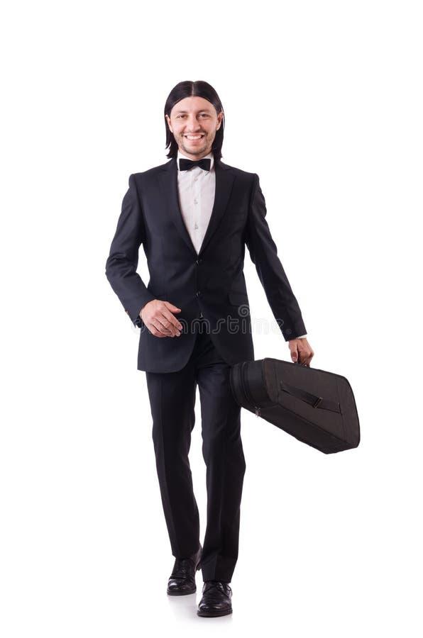 M??czyzna z skrzypce odizolowywaj?cym na bielu zdjęcie royalty free
