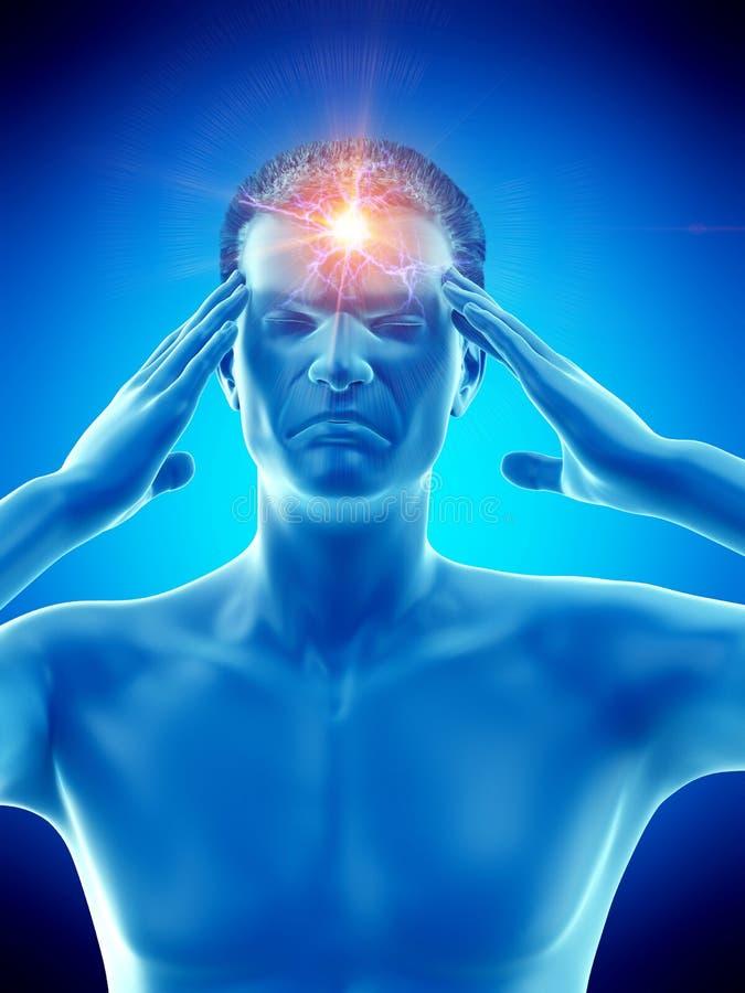 M??czyzny cierpienie od migreny ilustracji