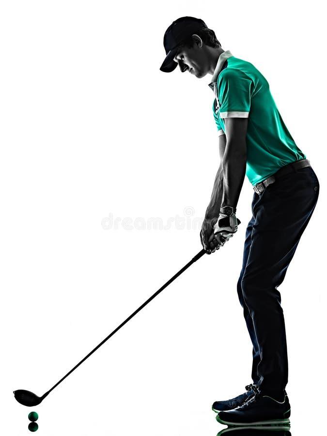 M??czyzny Golfowy golfista gra? w golfa odizolowywaj?cego cie? sylwetki bielu t?o zdjęcie stock