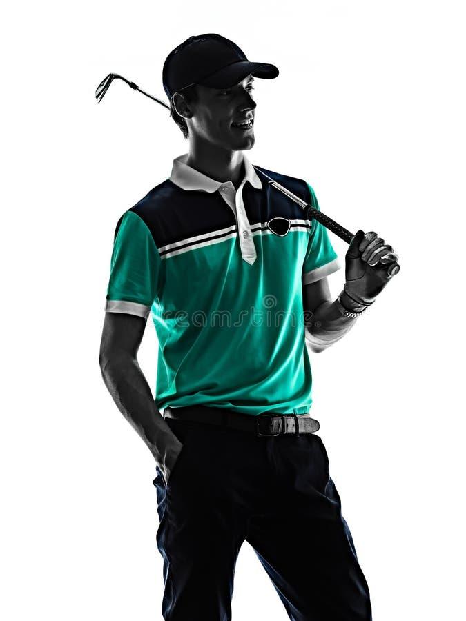M??czyzny Golfowy golfista gra? w golfa odizolowywaj?cego cie? sylwetki bielu t?o obrazy stock