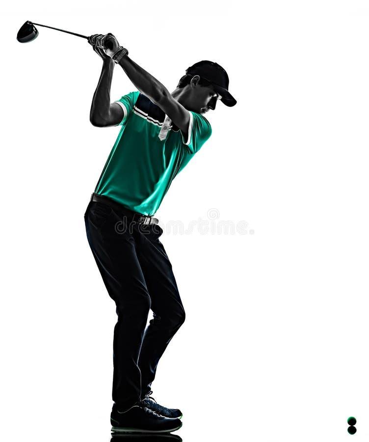 M??czyzny Golfowy golfista gra? w golfa odizolowywaj?cego cie? sylwetki bielu t?o obrazy royalty free