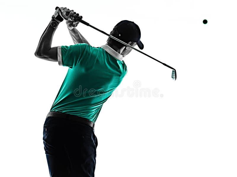 M??czyzny Golfowy golfista gra? w golfa odizolowywaj?cego cie? sylwetki bielu t?o fotografia royalty free