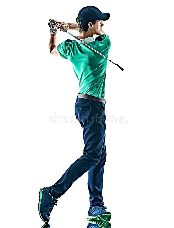 M??czyzny Golfowy golfista gra? w golfa odosobnionego bia?ego t?o zdjęcia royalty free