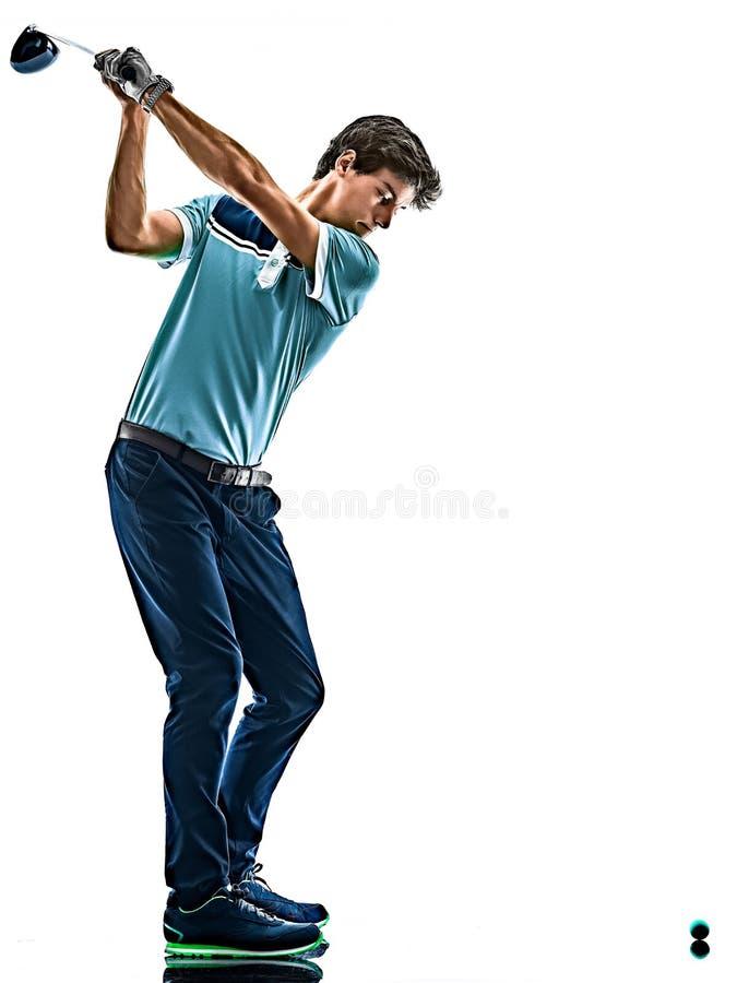 M??czyzny Golfowy golfista gra? w golfa odosobnionego bia?ego t?o fotografia stock