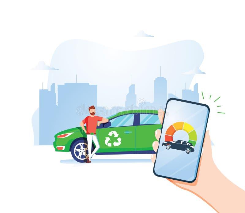 M??czyzny mienia telefon i dopatrywanie R?wni nape?nianie Refueling sztandaru wektoru ilustracja Eco transport Natury oszcz?dzani royalty ilustracja