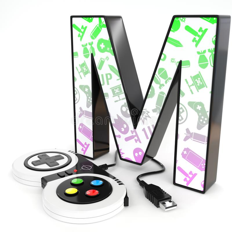 `M` 3d letter with video game controller. Green and purple video game icons painted over `M` 3d letter with video game controller vector illustration