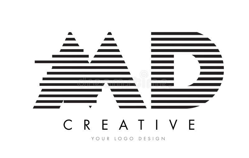 M.D.M D Zebra Letter Logo Design met Zwart-witte Strepen royalty-vrije illustratie