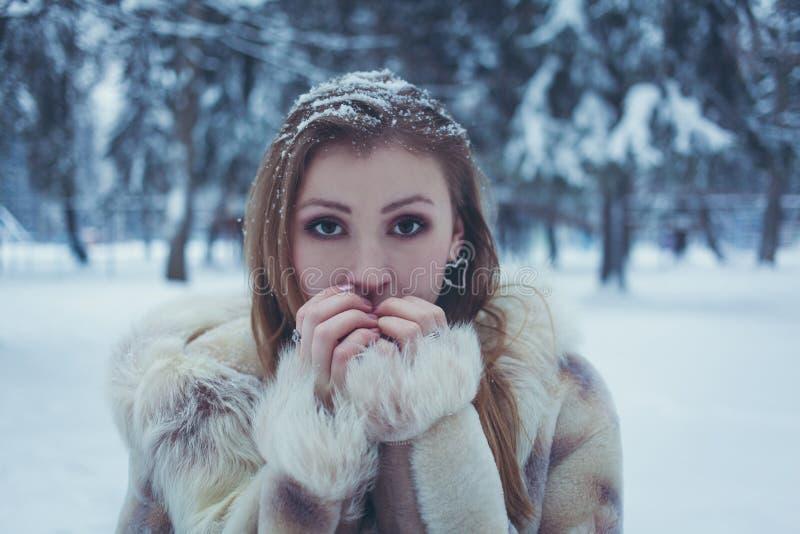 M?dchen in einem hellen Pelzmantel mit dem fl?ssigen Haar und Schnee auf ihrem Haar setzten ihre H?nde zu ihrem Gesicht vor dem h lizenzfreie stockfotografie