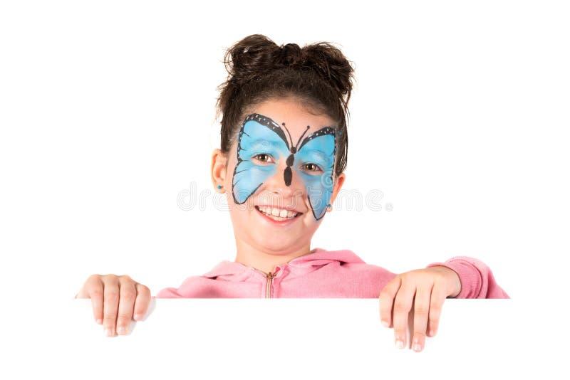 M?dchen mit Gesichtfarbe stockfotos