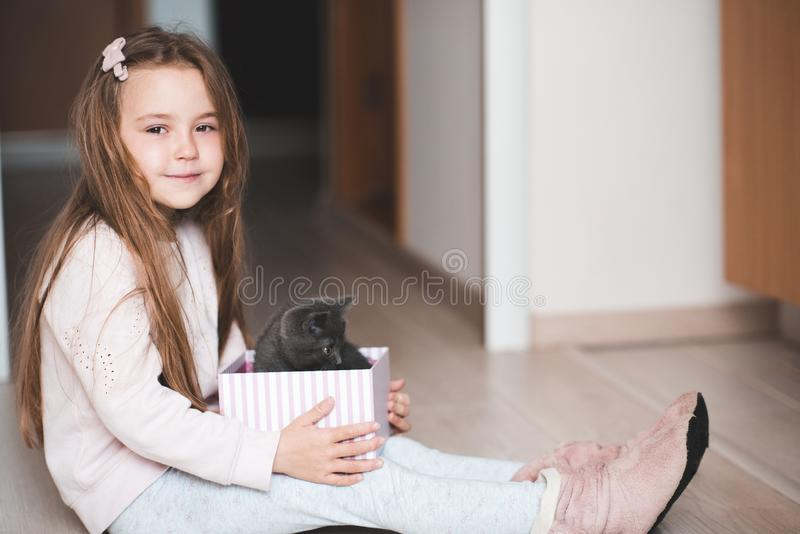 M?dchen mit Katze lizenzfreies stockfoto