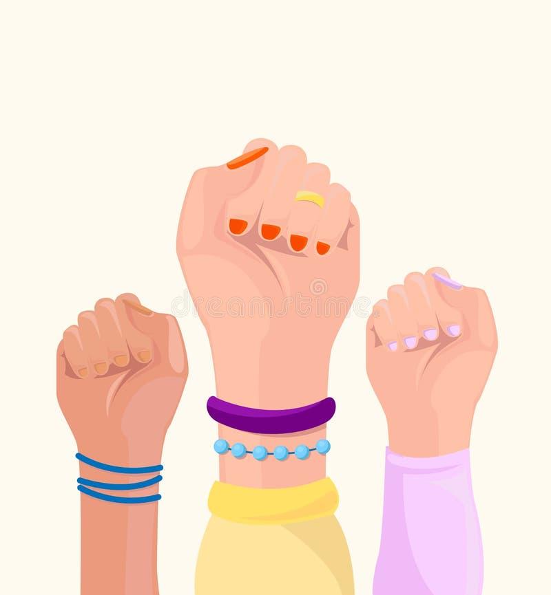 M?dchenenergieplakat Frauenhände mit unterschiedlichem Abfangen und unterschiedlicher Hautfarbe set Feminismus, Renngleichheit, T stock abbildung
