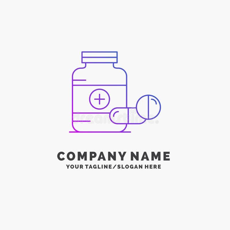 m?decine, pilule, capsule, drogues, affaires pourpres Logo Template de comprim? Endroit pour le Tagline photo stock