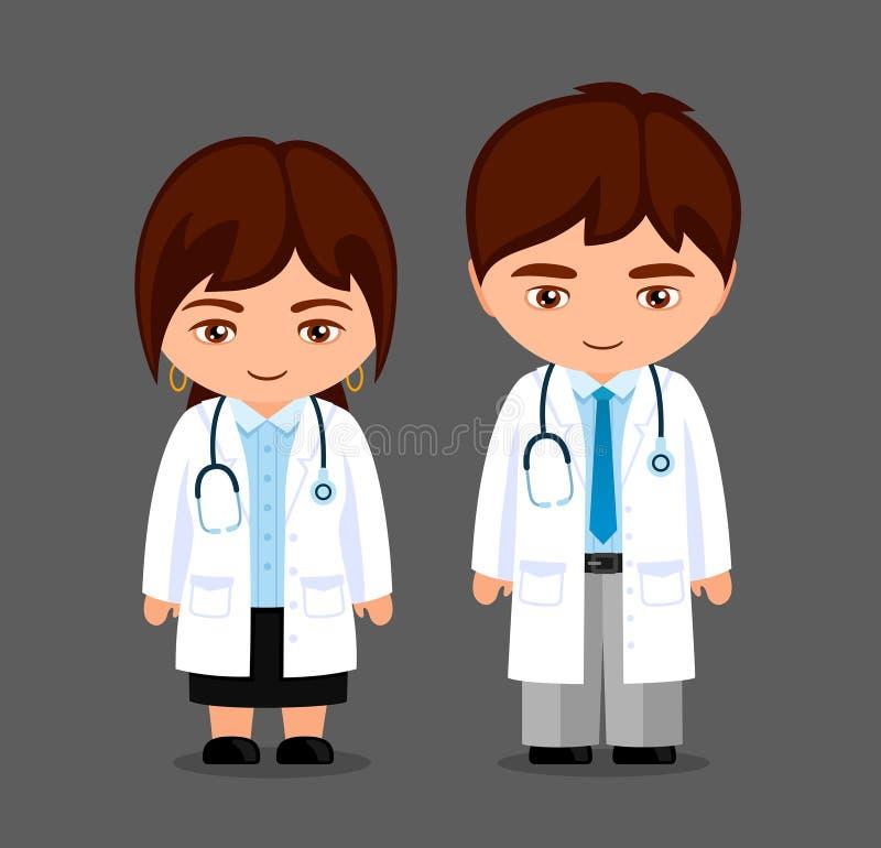 m?decins Peu fille et garçon dans l'uniforme médical, avec le stéthoscope Personnages de dessin anim? de Kawaii illustration de vecteur