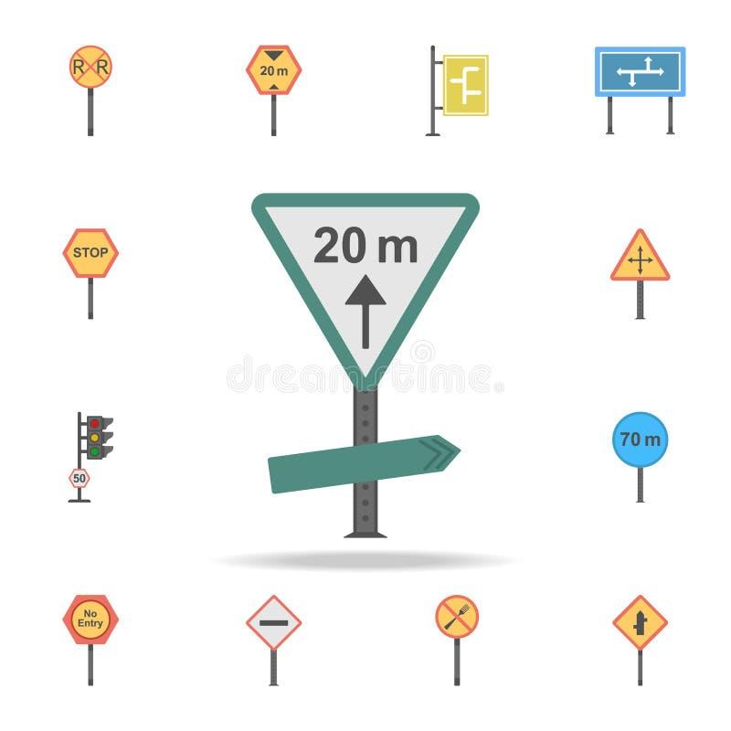 20 m distanceicon Szczegółowy set koloru drogowego znaka ikony Premia graficzny projekt Jeden inkasowe ikony dla stron internetow ilustracja wektor