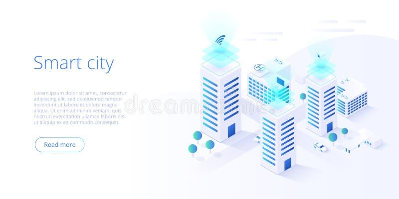 M?drze miasta lub inteligentnego budynku isometric wektorowy poj?cie Budynek automatyzacja z komputerow? networking ilustracj? za ilustracji
