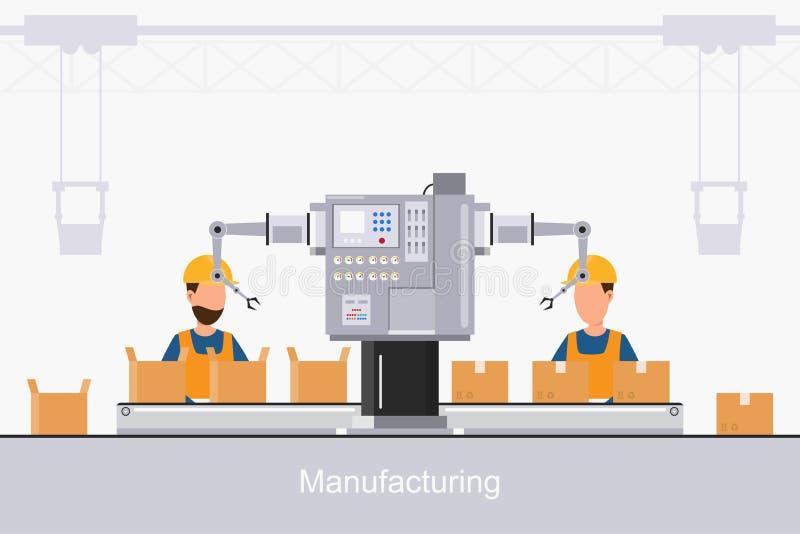 M?drze przemys?owa fabryka w p?askim stylu z pracownikami, robotami i linii monta?owej kocowaniem, royalty ilustracja