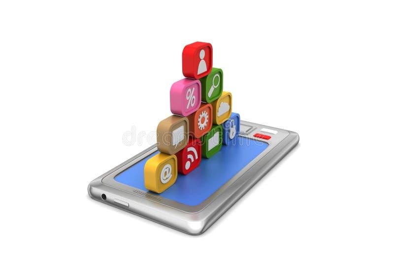 Download Mądrze Telefon Z Podaniowymi Ikonami Ilustracji - Ilustracja złożonej z czerń, portable: 53777448