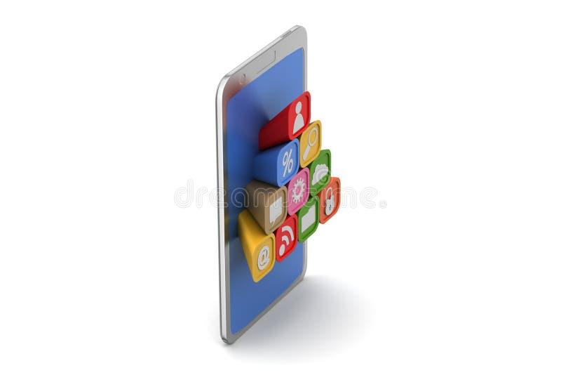Download Mądrze Telefon Z Podaniowymi Ikonami Ilustracji - Ilustracja złożonej z wiadomość, muzyka: 53777715
