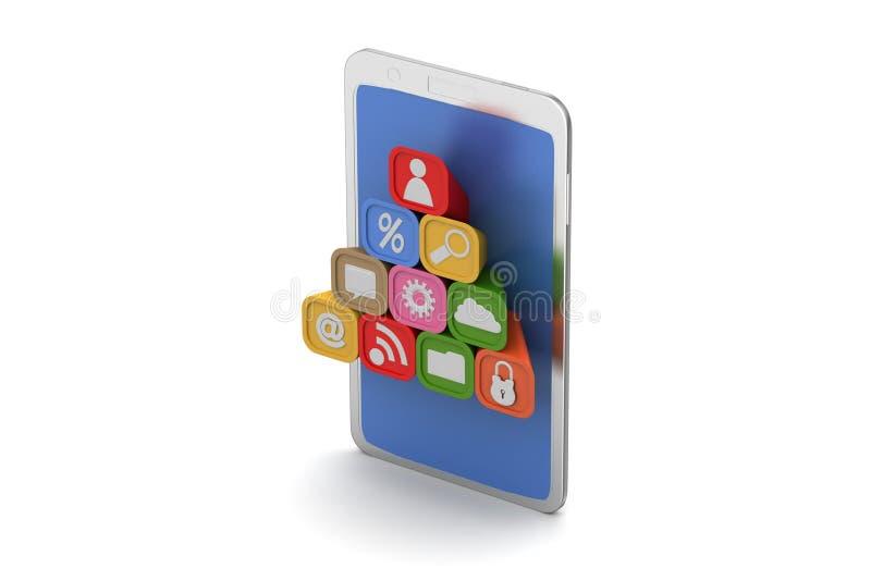 Download Mądrze Telefon Z Podaniowymi Ikonami Ilustracji - Ilustracja złożonej z guzik, kamera: 53777728