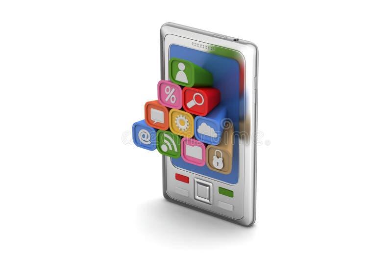 Download Mądrze Telefon Z Podaniowymi Ikonami Ilustracji - Ilustracja złożonej z portable, muzyka: 53777774