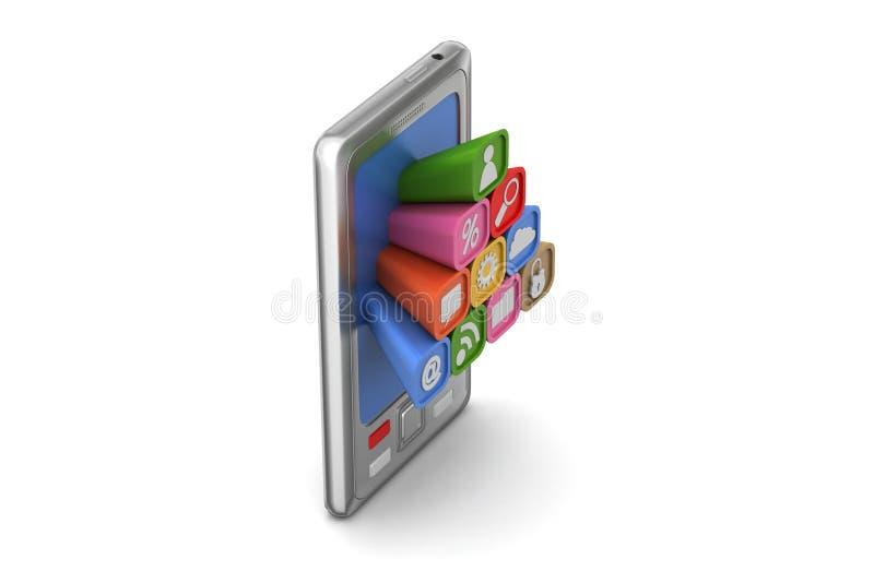 Download Mądrze Telefon Z Podaniowymi Ikonami Ilustracji - Ilustracja złożonej z kalendarz, guzik: 53777777