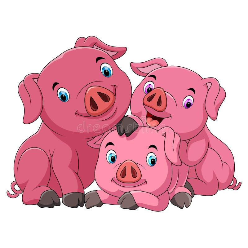 M?e feliz do porco dos desenhos animados com leit?o ilustração stock