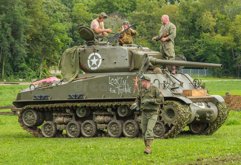 M4A3E8 Sherman Tank with crew memebers stock photo