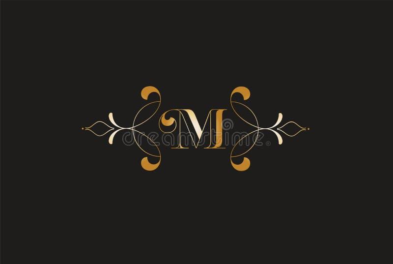 M elegante Golden Letter Logo Design Logotipo creativo del monograma libre illustration
