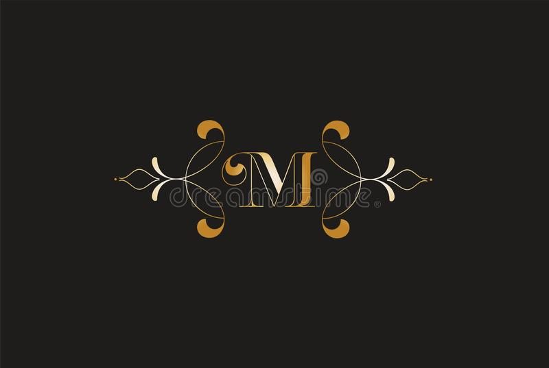 M elegante Golden Letter Logo Design Logotipo criativo do monograma ilustração royalty free