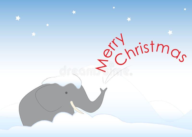M. Elephant dans la neige de Noël illustration stock