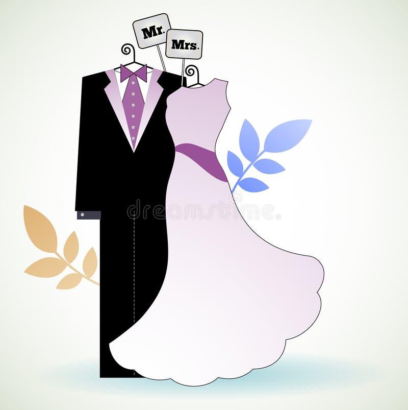 M. en Mevr. Bride en Bruidegom stock illustratie