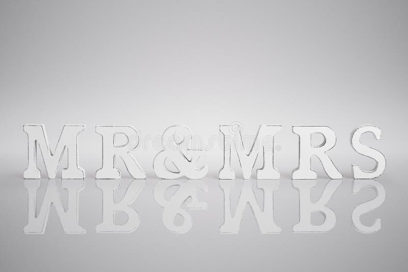 M. et Mme lettres de concept de jour du mariage image stock