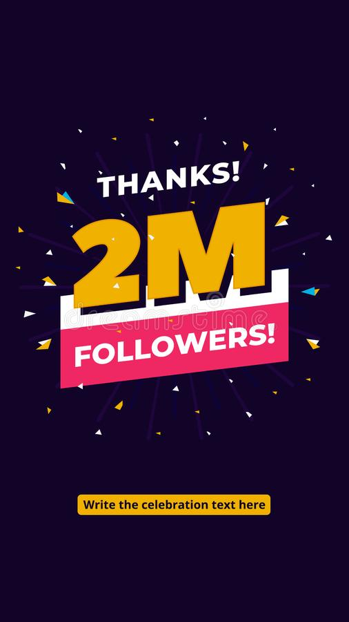 2m followers, one million followers social media post background template. Creative celebration typography design with confetti. Ornament for online website royalty free illustration