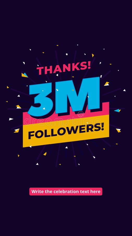 3m followers, one million followers social media post background template. Creative celebration typography design with confetti. Ornament for online website vector illustration