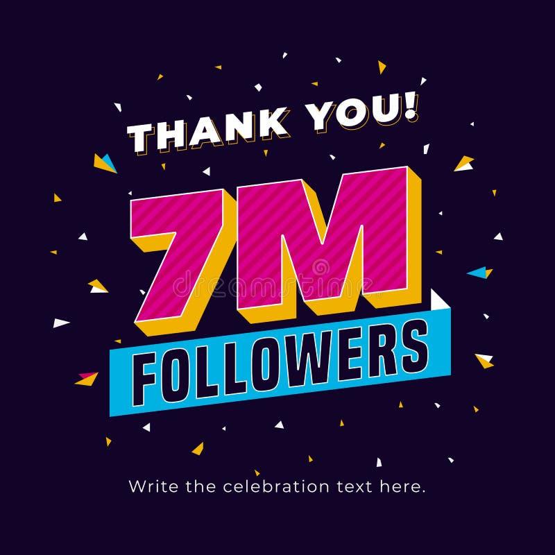 7m followers, seven million followers social media post background template. Creative celebration typography design with confetti vector illustration