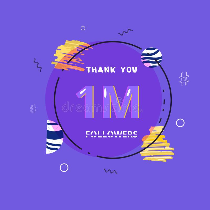 1M followers thank you post for social media. Vector illustration. royalty free illustration